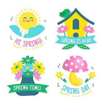 手描き春ラベルコレクション