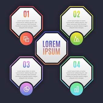 Красочные инфографические шаги
