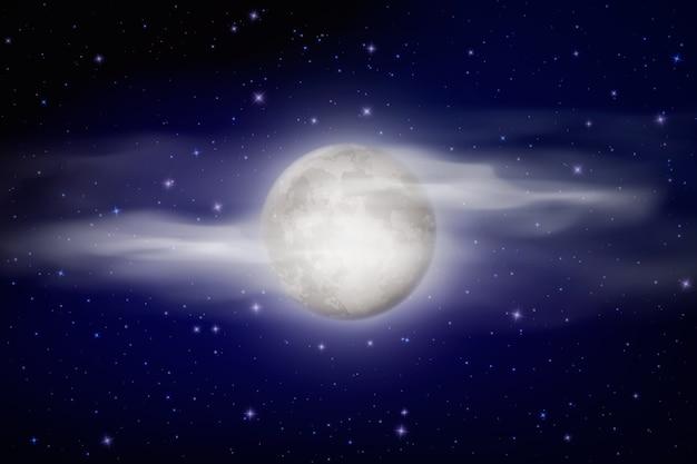 Реалистичная полная луна фон неба