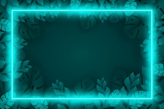 Реалистичные листья с неоновой рамкой