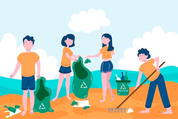 ビーチでボランティア活動をしている人々
