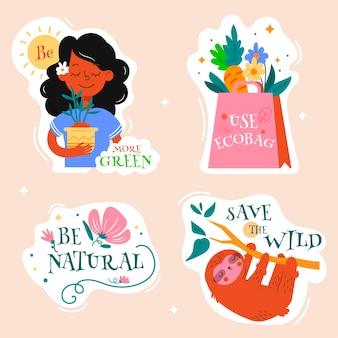 Набор экологических значков зеленых