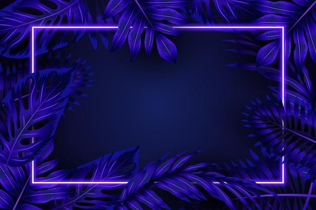 Реалистичные листья с синей неоновой рамкой