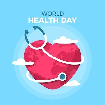 フラットなデザインの世界保健デーのコンセプト