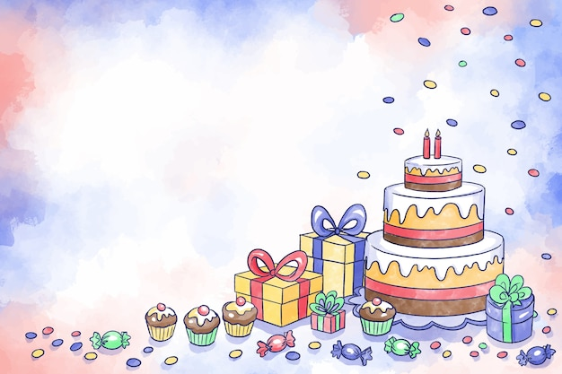 Акварель день рождения фон