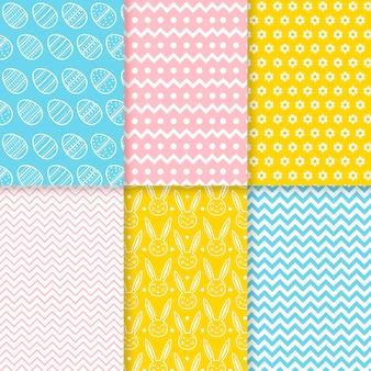 Коллекция шаблонов в день пасхи в плоском дизайне