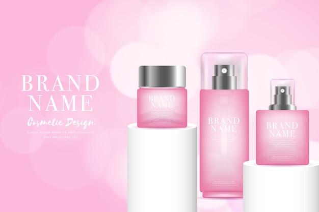 ピンクの色調の化粧品の広告で女性の香水