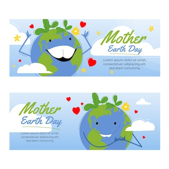 Нарисованное рукой знамя дня матери-земли