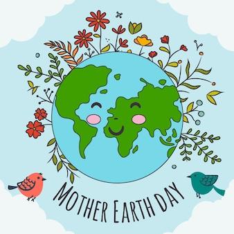 Нарисованная вручную концепция знамени матери-земли