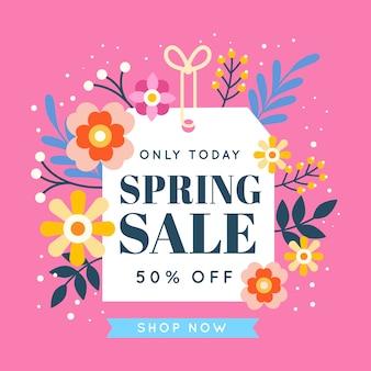 花とフラットなデザインの春のセール