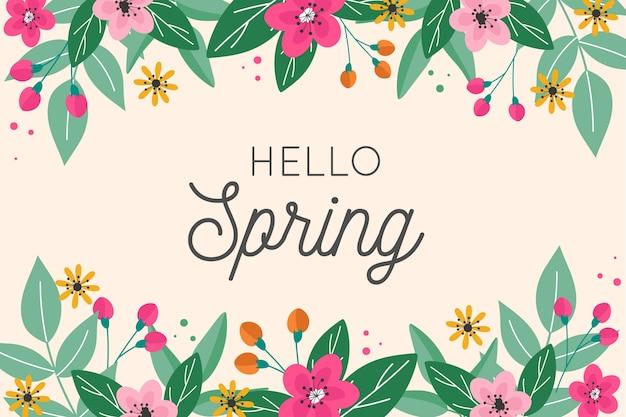 Привет весенний дизайн надписи с цветочной рамкой