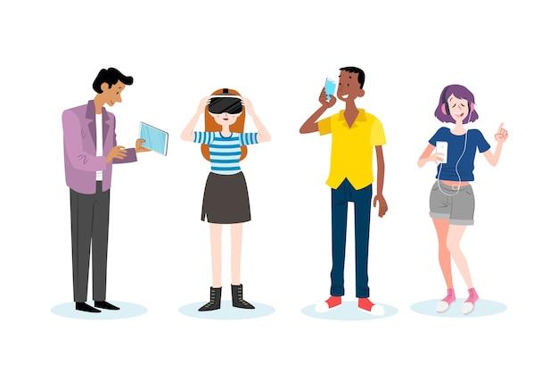 Молодые люди с смартфона и планшета