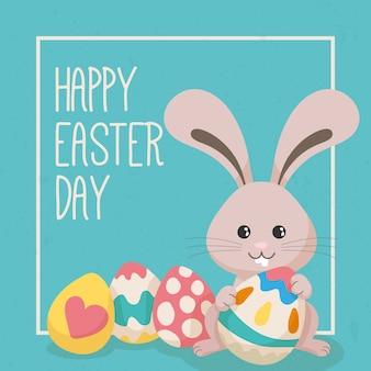 Ручной обращается пасхальный кролик с яйцами