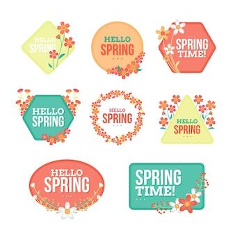 Коллекция плоских весенних значков