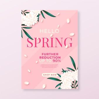 Реалистичные флаер шаблон для весенней распродажи с цветами