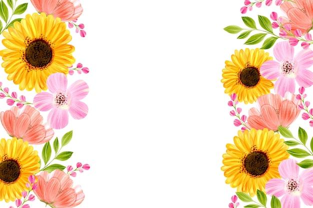 ホワイトスペースと水彩花の背景