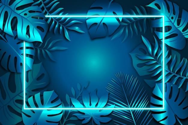青いネオンフレームと現実的な葉