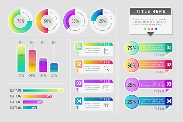 Инфографика элемент коллекции шаблонов темы