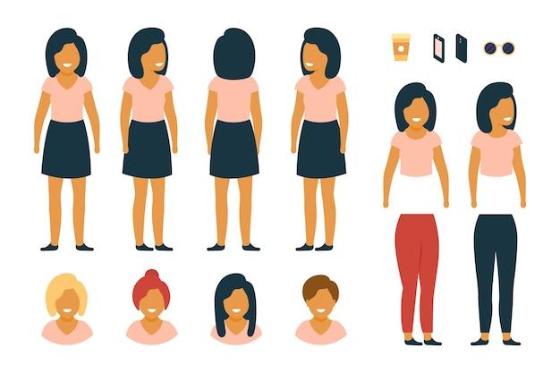 女性とオブジェクトのキャラクターのポーズ