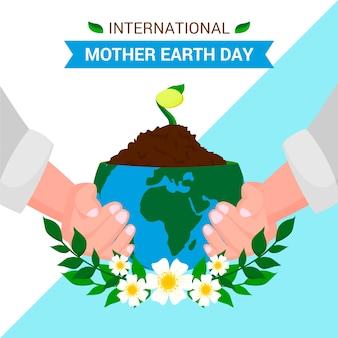Плоский дизайн концепции день матери-земли