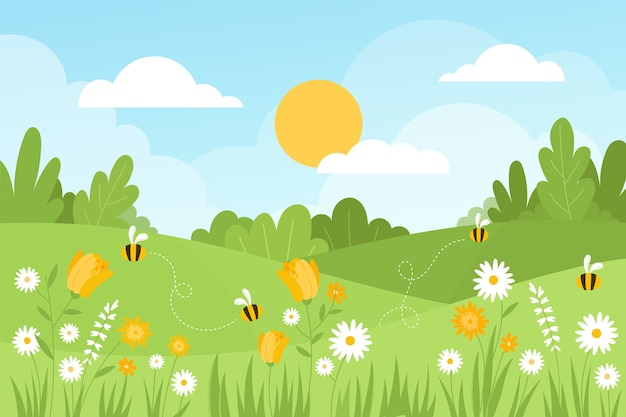 Рисованный весенний пейзаж