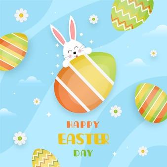 Плоский дизайн счастливого праздника пасхи