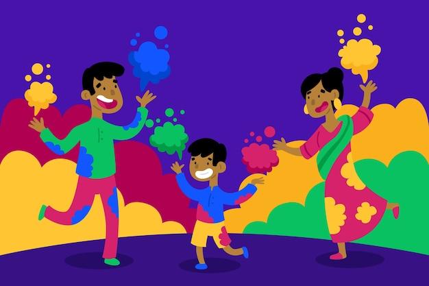 人々のお祝いホーリー祭イベント