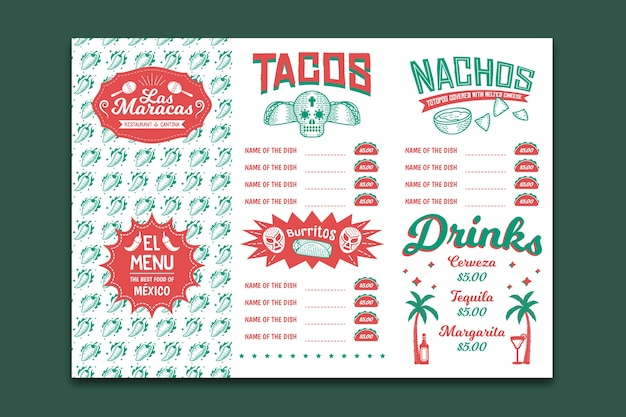 Шаблон меню ресторана для тако