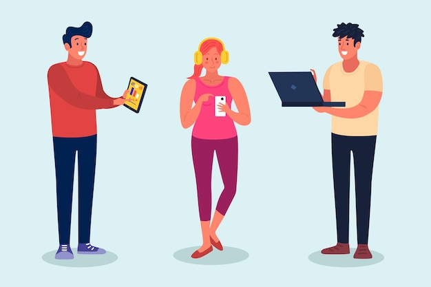 テクノロジーデバイスを持つ人々