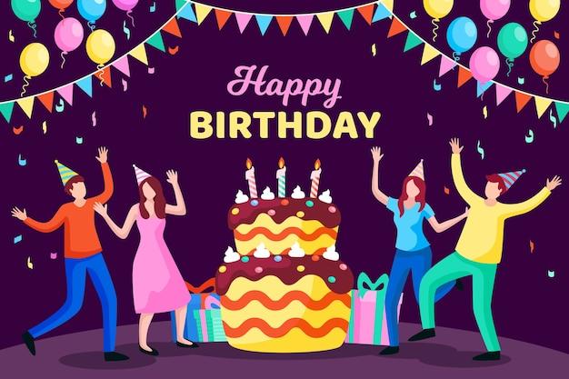 День рождения фон плоский дизайн