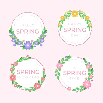 フラットなデザインの春バッジコレクションテーマ