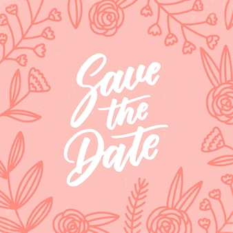 花と結婚式のレタリング