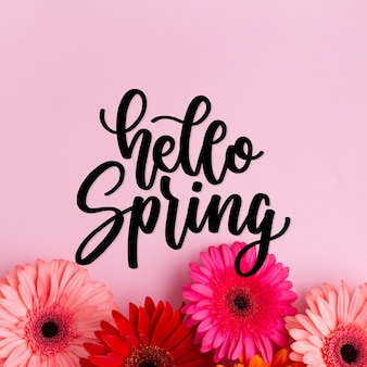 こんにちは春の花とタイポグラフィ