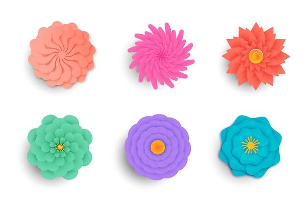 Весенняя коллекция цветов в бумажном стиле