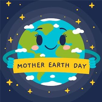手描きの母なる地球の日の背景