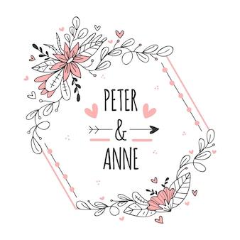 Современная розовая рамка для свадьбы с цветами