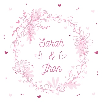 結婚式のためのピンクの春花のフレーム