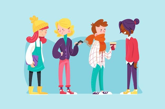 Молодые люди иллюстрация