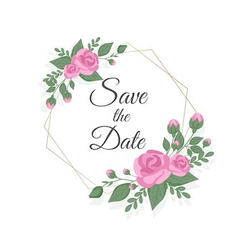 花の結婚式の招待状のテンプレートデザイン