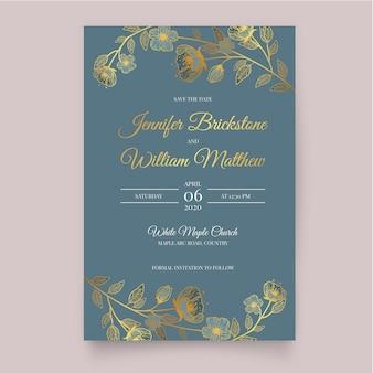 テンプレートの花の結婚式の招待状のテーマ