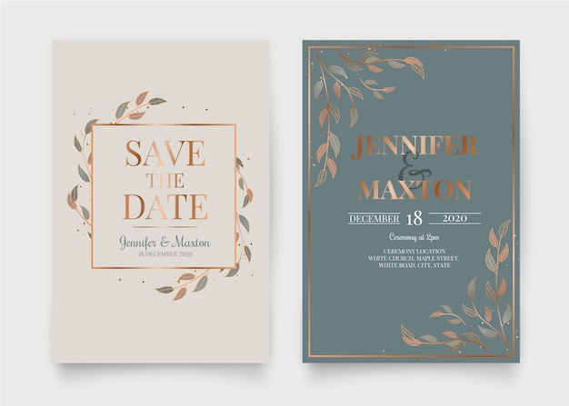 エレガントな結婚式の招待状のデザイン
