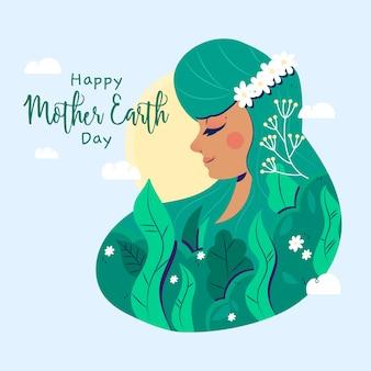 手描きの女性と幸せな母地球の日