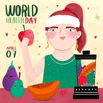 スムージーを作る女性と手描き世界保健デー