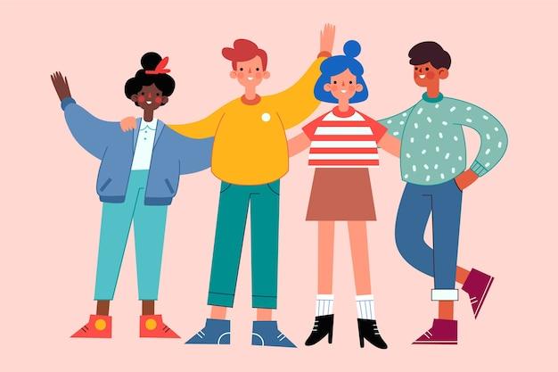カラフルな服を持つ人々のグループ