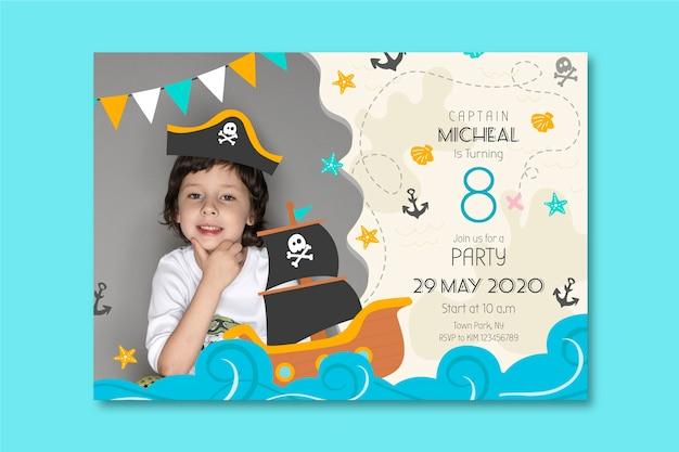 子供の誕生日カードテンプレートスタイル