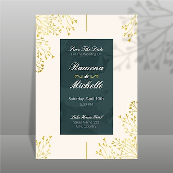 エレガントな結婚式の招待状のテンプレートデザイン