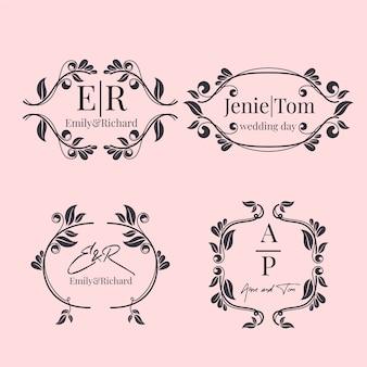 Цветочные свадебные монограммы / логотипы