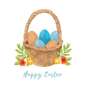 卵のバスケットと水彩のハッピーイースターの日レタリング