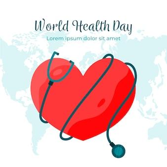 フラットなデザインの世界保健デーのテーマ