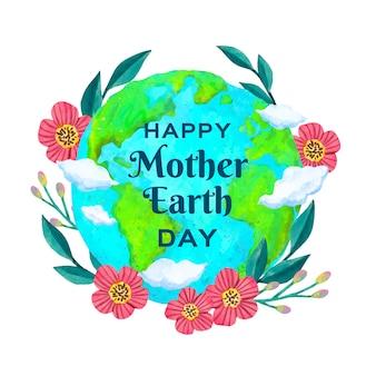 Акварель мать-земля день концепция